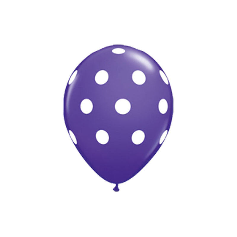 Purple Polka Dot Balloons  Printed Latex Balloons Hello Party Essentials - Hello Party