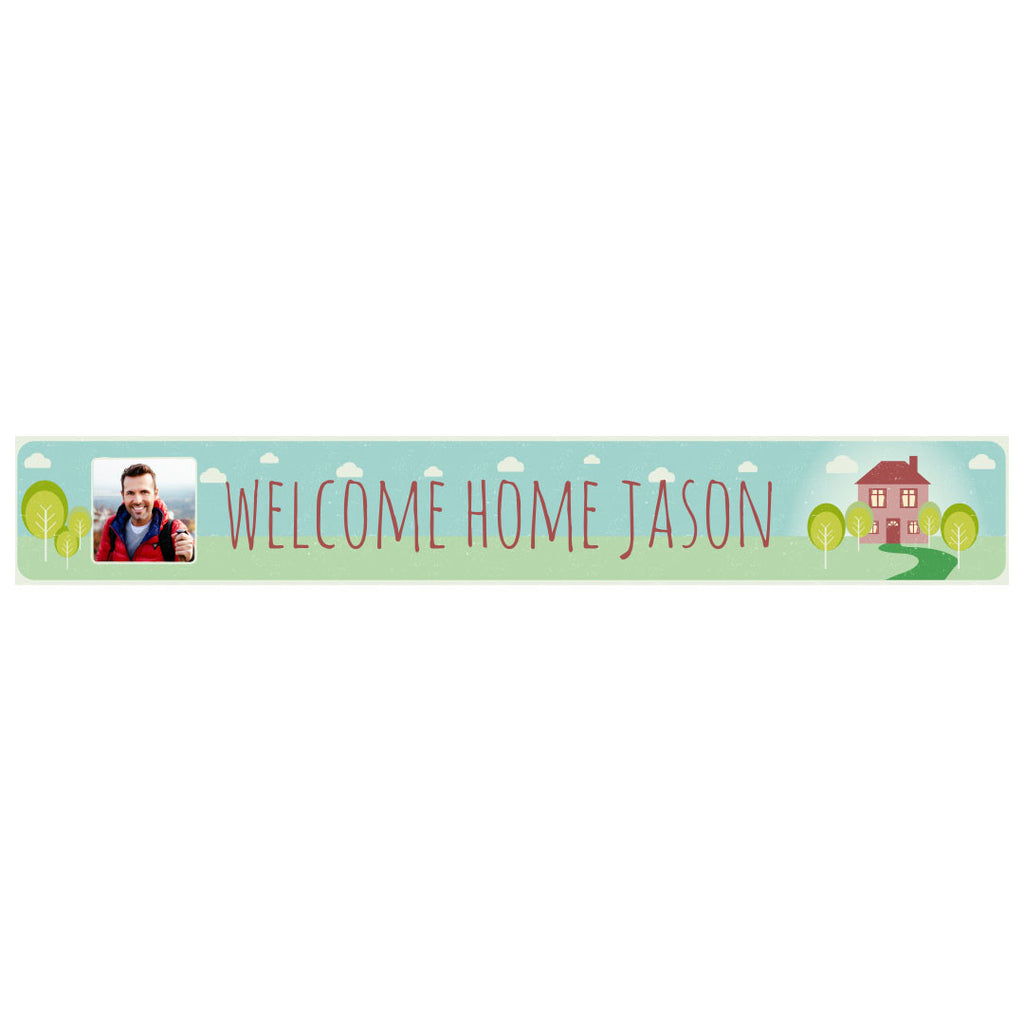 Welcome Home Banner <br/> with a space for 1 photo and a name or message
