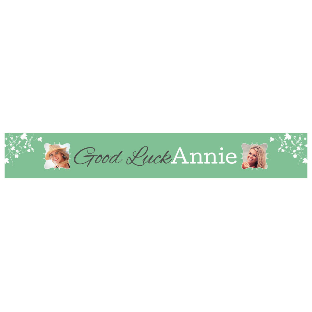 Good Luck Banner <br/> with spaces for 2 photos and a name or message