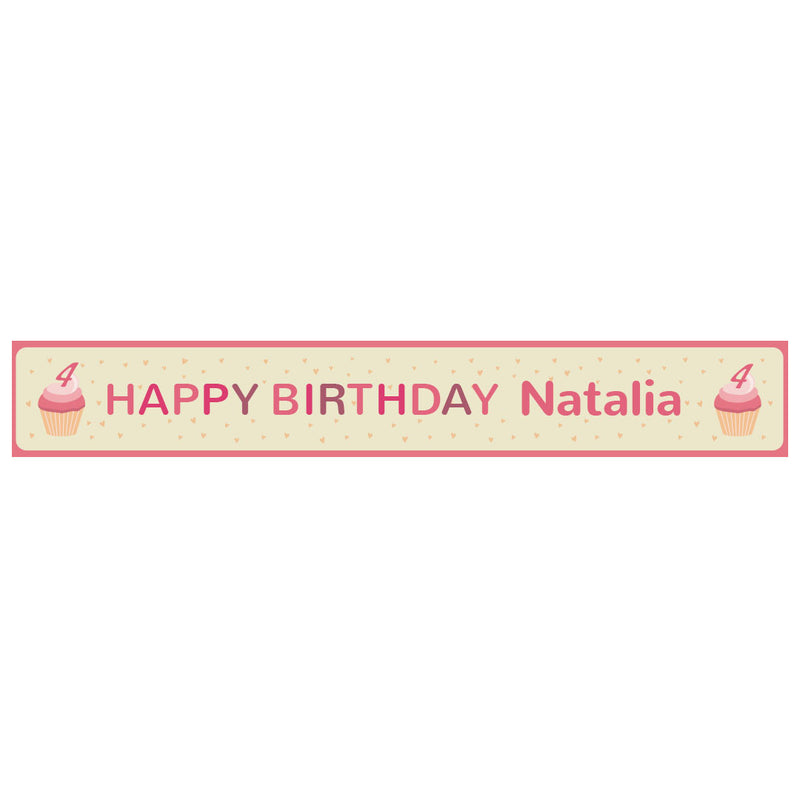 Cute Cupcake Banner <br/> with a space for a name or message  Personalisable Banner Hello Party - All you need to make your party perfect! - Hello Party