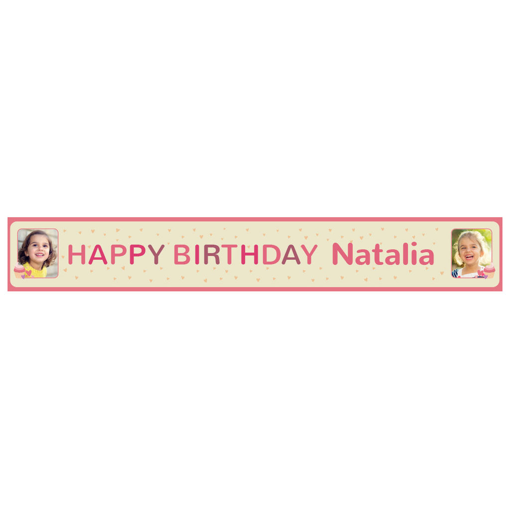 Cute Cupcake Banner <br/> with spaces for 2 photos and a name or message  Personalisable Banner Hello Party - All you need to make your party perfect! - Hello Party