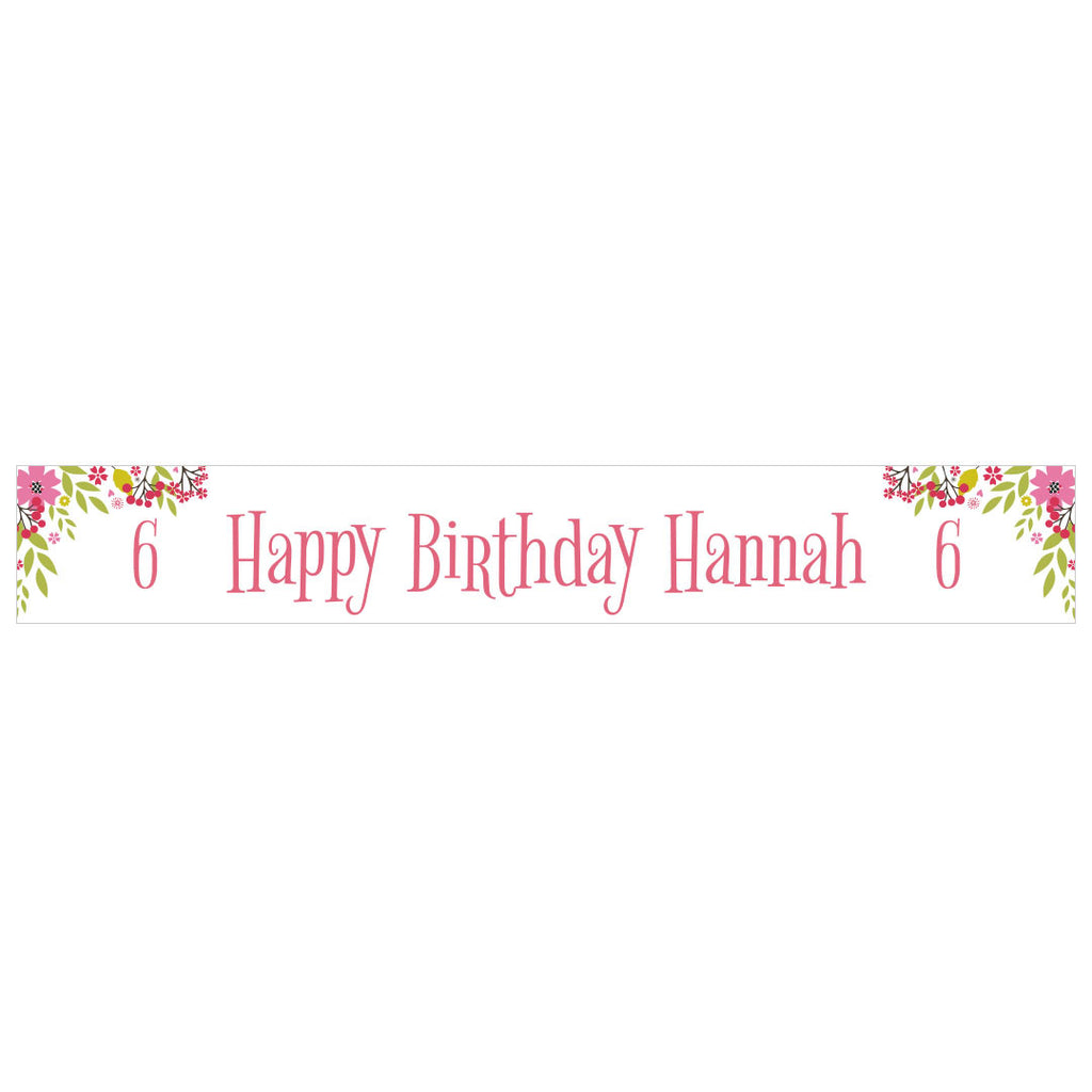 Pretty Flower Birthday Banner With A Space For A Name Or Message
