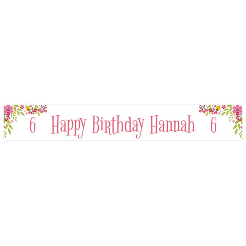 Pretty Flower Birthday Banner <br/> with a space for a name or message