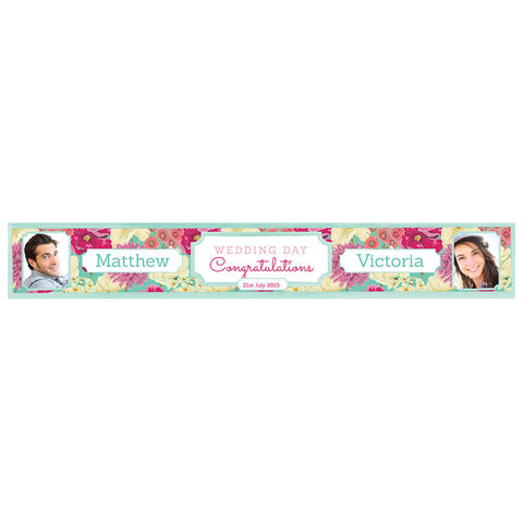 Big & Bright Wedding Blooms Banner <br/> with spaces for 2 photos and a name or message  Personalisable Banner Hello Party - All you need to make your party perfect! - Hello Party