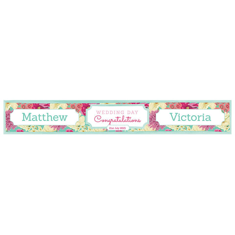 Big & Bright Wedding Blooms Banner <br/> with a space for a name or message  Personalisable Banner Hello Party - All you need to make your party perfect! - Hello Party