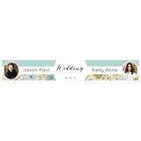 Wedding Wallpaper : Blue & Gold Banner <br/> with spaces for 2 photos and a name or message