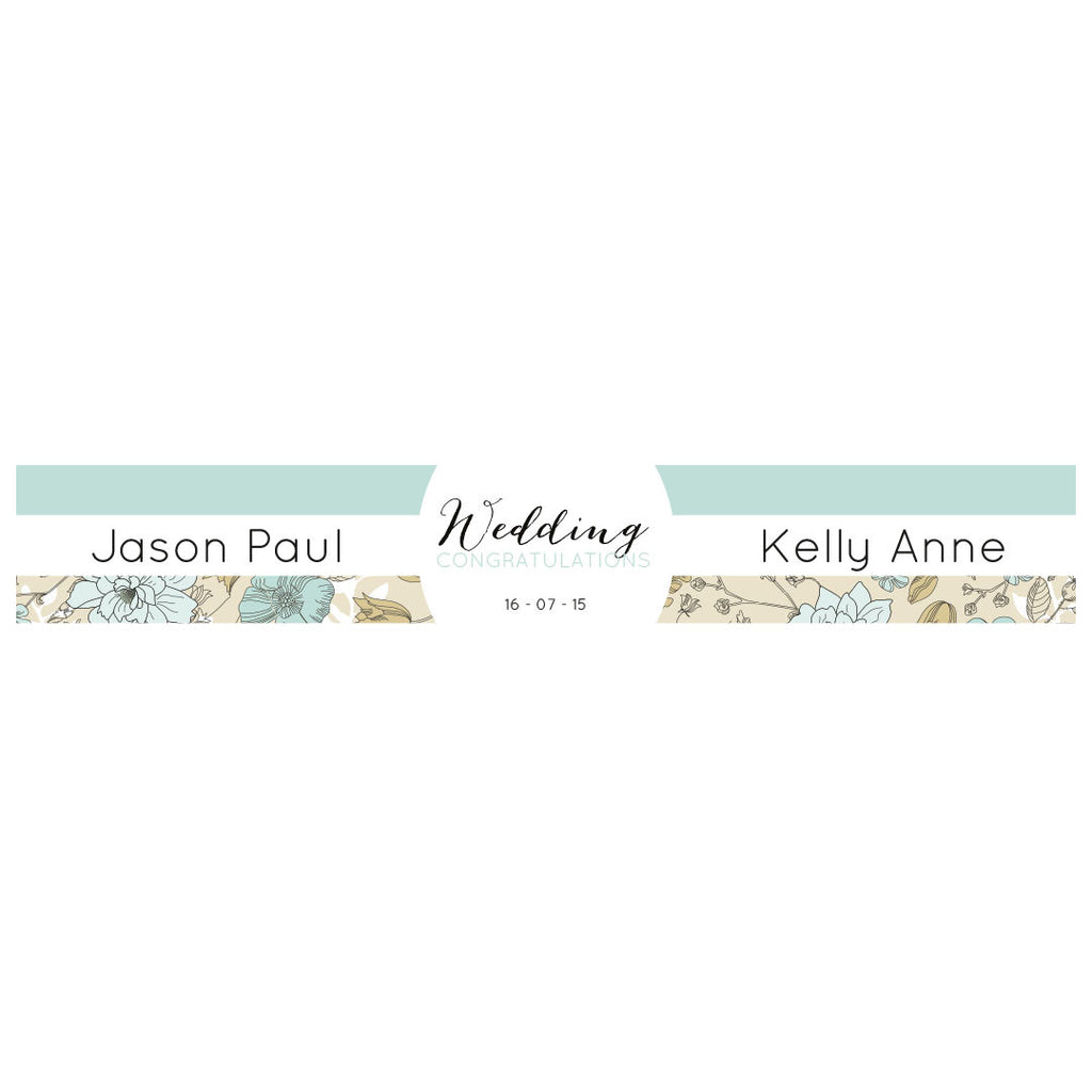 Wedding Wallpaper : Blue & Gold Banner <br/> with a space for a name or message