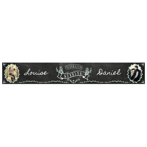 Blackboard Wedding Banner <br/> with spaces for 2 photos and a name or message - Hello Party - All you need to make your party perfect!