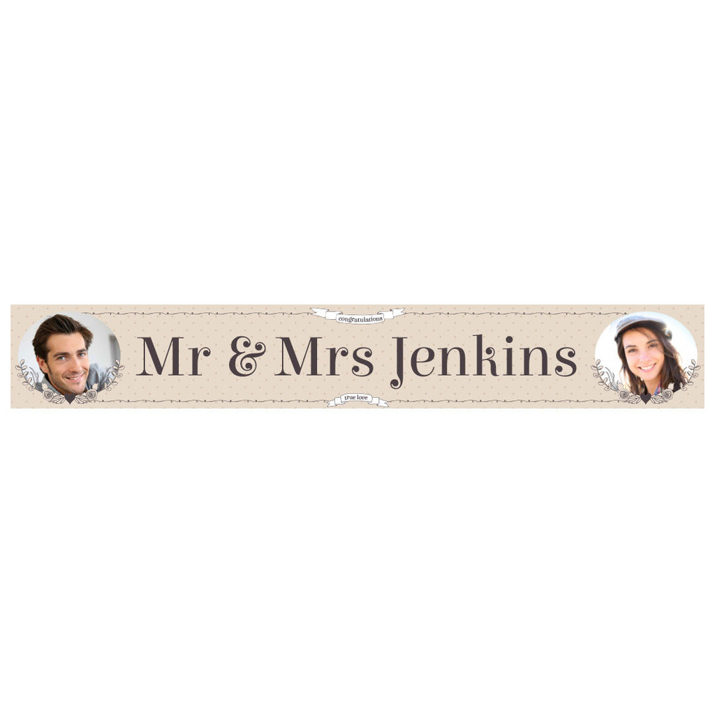 Classic Country Wedding Banner <br/> with spaces for 2 photos and a name or message  Personalisable Banner Hello Party - All you need to make your party perfect! - Hello Party