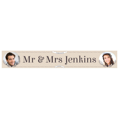Classic Country Wedding Banner <br/> with spaces for 2 photos and a name or message