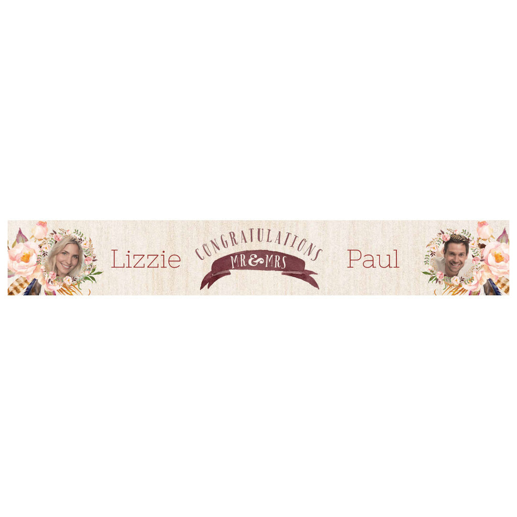 Feathers & Wedding Roses Banner <br/> with spaces for 2 photos and a name or message