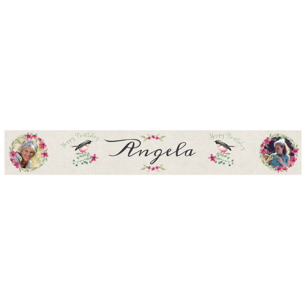 Watercolour Wreaths Banner <br/> with spaces for 2 photos and a name or message
