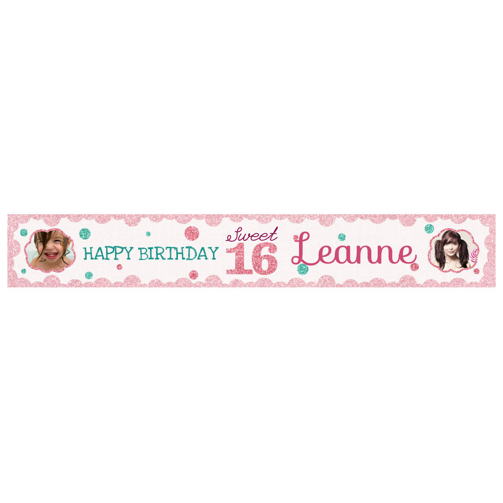 Sweet 16 Banner <br/> with spaces for 2 photos and a name or message
