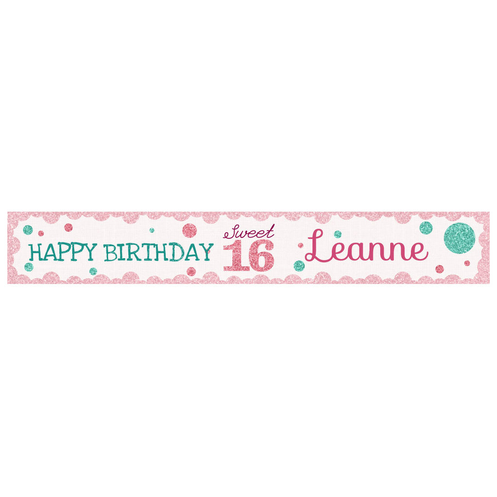 Sweet 16 Banner <br/> with a space for a name or message