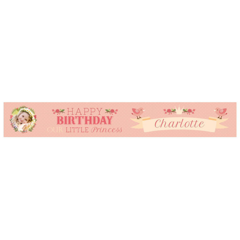 Our Little Princess Banner <br/> with a space for 1 photo and a name or message