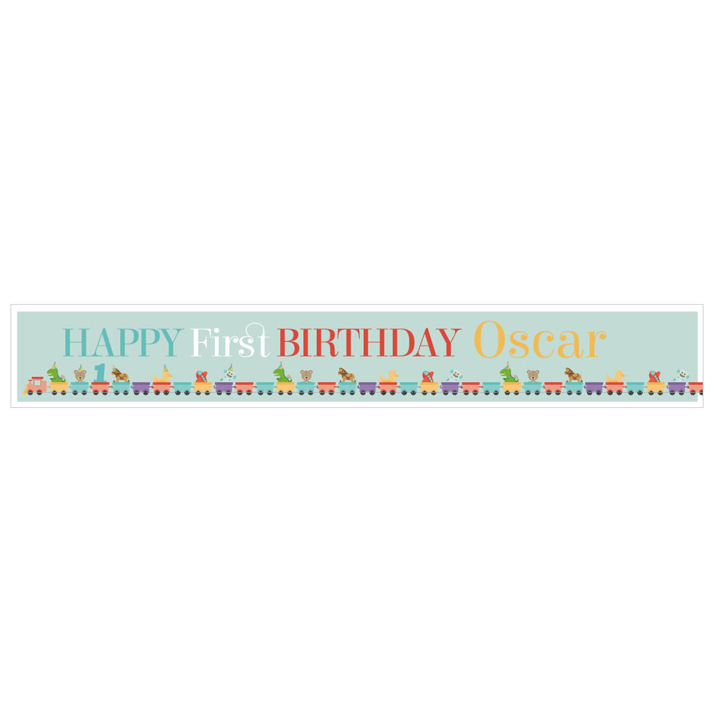 1st Birthday Party Train Banner <br/> with spaces for 2 photos and a name or message - Hello Party - All you need to make your party perfect!