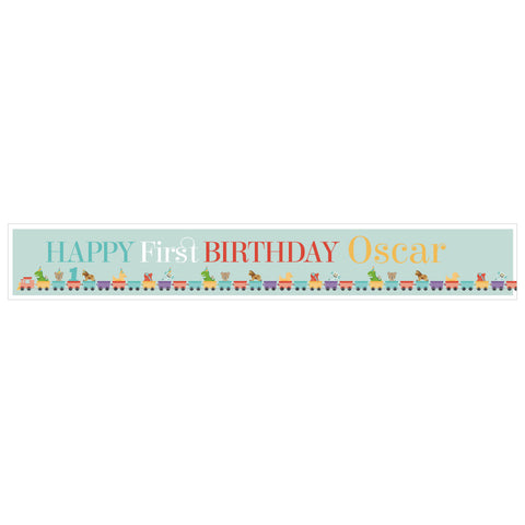 1st Birthday Party Train Banner <br/> with a space for a name  Personalisable Banner Hello Party - All you need to make your party perfect! - Hello Party