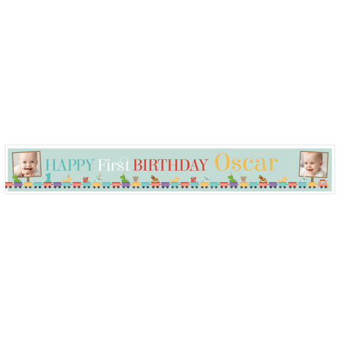 1st Birthday Party Train Banner <br/> with spaces for 2 photos and a name or message  Personalisable Banner Hello Party - All you need to make your party perfect! - Hello Party