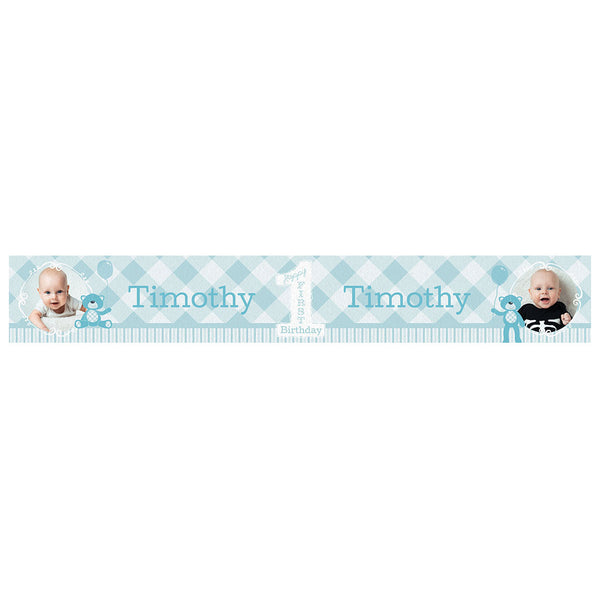 1st Birthday Bear : Blue Banner <br/> with spaces for 2 photos and a name or message  Personalisable Banner Hello Party - All you need to make your party perfect! - Hello Party