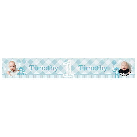 1st Birthday Bear : Blue Banner <br/> with spaces for 2 photos and a name or message - Hello Party - All you need to make your party perfect!