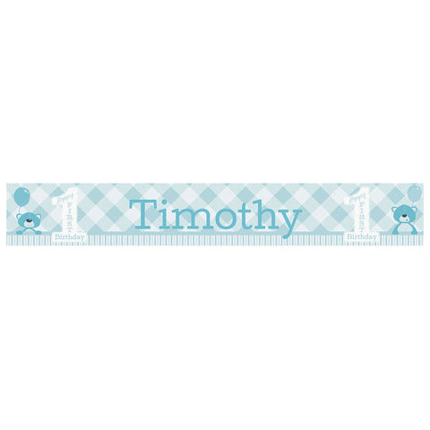 1st Birthday Bear : Blue Banner <br/> with a space for a name or message  Personalisable Banner Hello Party - All you need to make your party perfect! - Hello Party