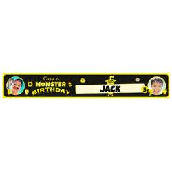 Monster Birthday Banner <br/> with spaces for 2 photos and a name or message