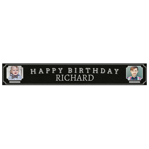 Dapper Gentleman Black Banner <br/> with spaces for 2 photos and a name or message  Personalisable Banner Hello Party - All you need to make your party perfect! - Hello Party