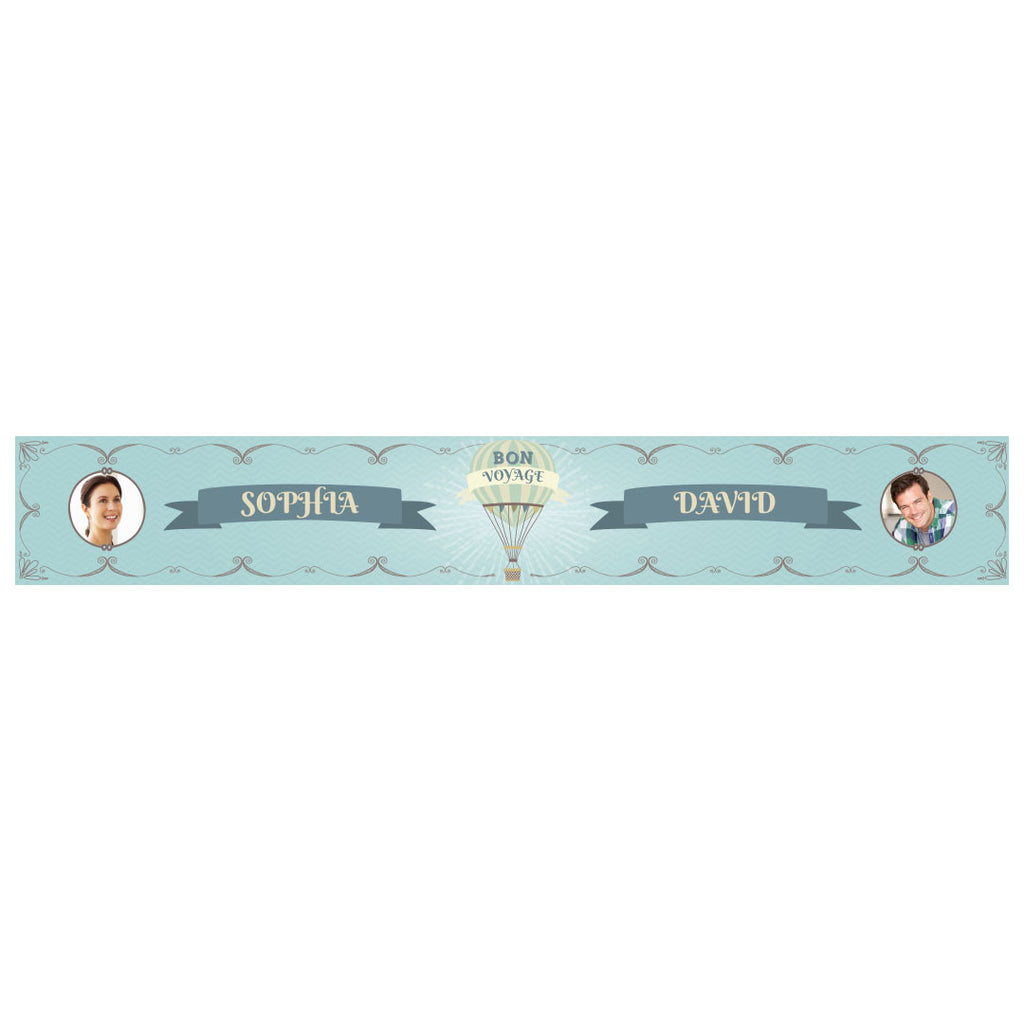 Vintage Balloon Banner <br/> with spaces for 2 photos and a name or message