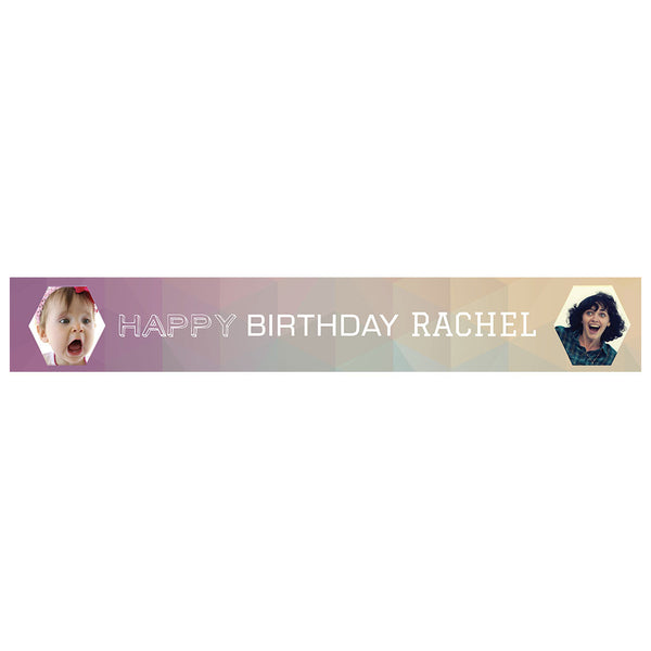 Geometric Pastels Banner <br/> with spaces for 2 photos and a name or message