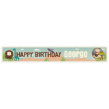 Roaring Birthday Dinosaurs Banner <br/> with a space for 1 photo and a name or message