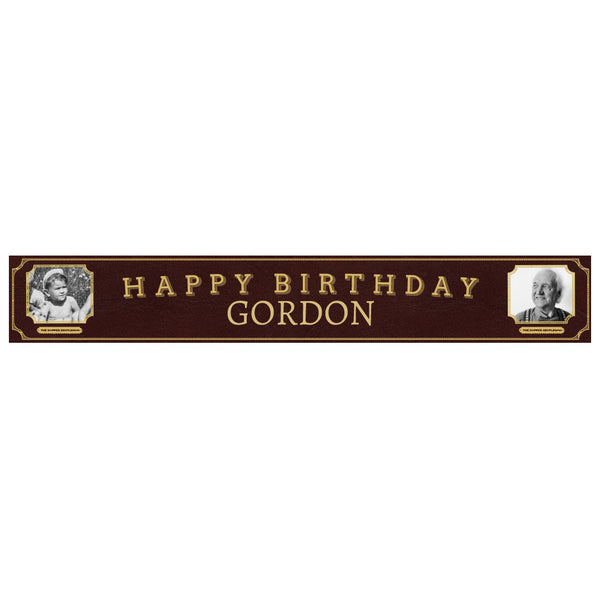 Dapper Gentleman Brown Banner <br/> with spaces for 2 photos and a name or message  Personalisable Banner Hello Party - All you need to make your party perfect! - Hello Party