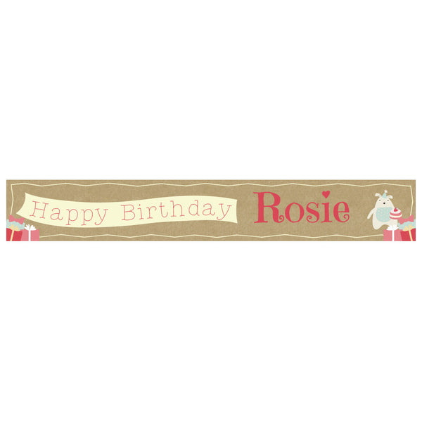 Cute Tea Party Banner <br/> with a space for a name or message  Personalisable Banner Hello Party - All you need to make your party perfect! - Hello Party