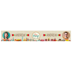 City Hopping Banner <br/> with spaces for 2 photos and a name or message  Personalisable Banner Hello Party - All you need to make your party perfect! - Hello Party