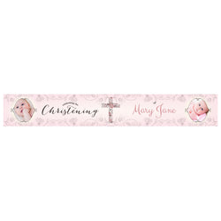 Floral Christening : Pink Banner <br/> with spaces for 2 photos and a name or message  Personalisable Banner Hello Party - All you need to make your party perfect! - Hello Party