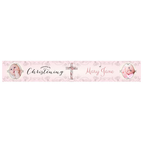 Floral Christening : Pink Banner <br/> with spaces for 2 photos and a name or message