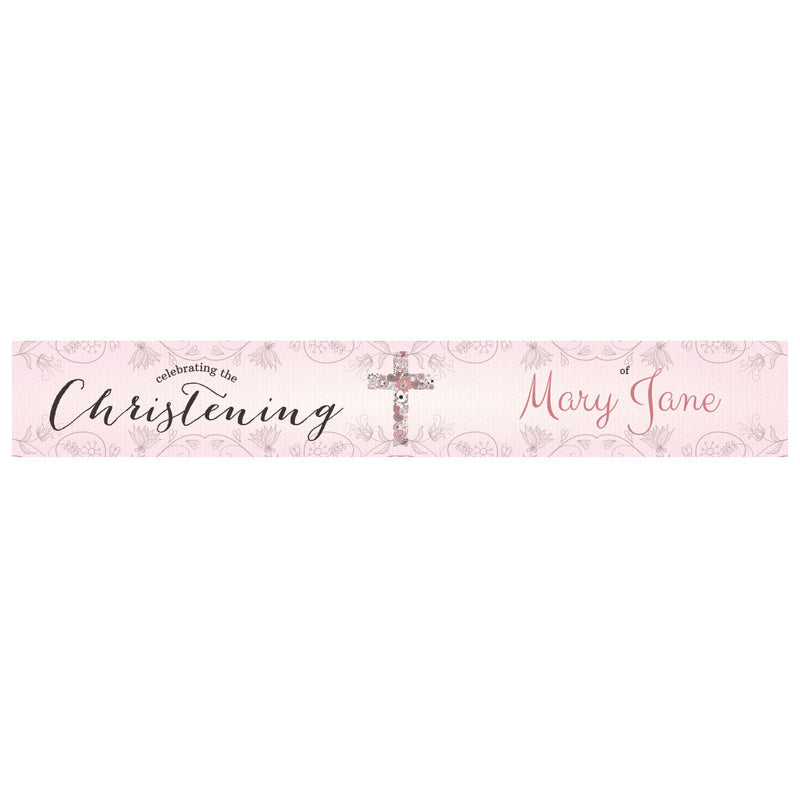 Floral Christening : Pink Banner <br/> with a space for a name or message  Personalisable Banner Hello Party - All you need to make your party perfect! - Hello Party