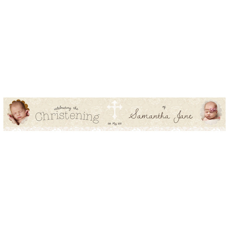 Lace Christening Banner <br/> with spaces for 2 photos and a name or message