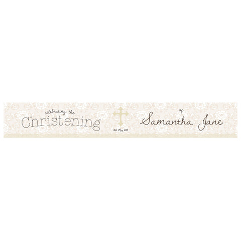 Lace Christening Banner <br/> with a space for a name or message