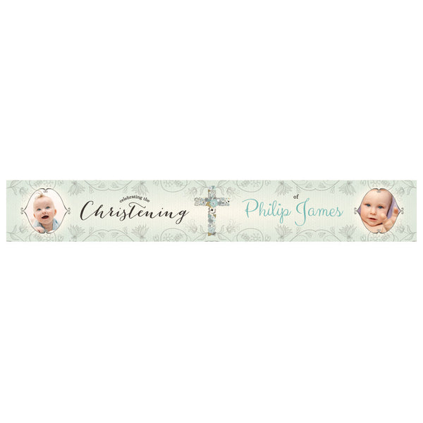 Floral Christening : Blue Banner <br/> with spaces for 2 photos and a name or message  Personalisable Banner Hello Party - All you need to make your party perfect! - Hello Party