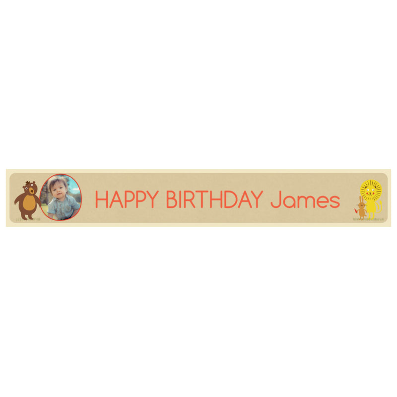 Cheeky Animal Party Banner <br/> with a space for 1 photo and a name or message  Personalisable Banner Hello Party - All you need to make your party perfect! - Hello Party