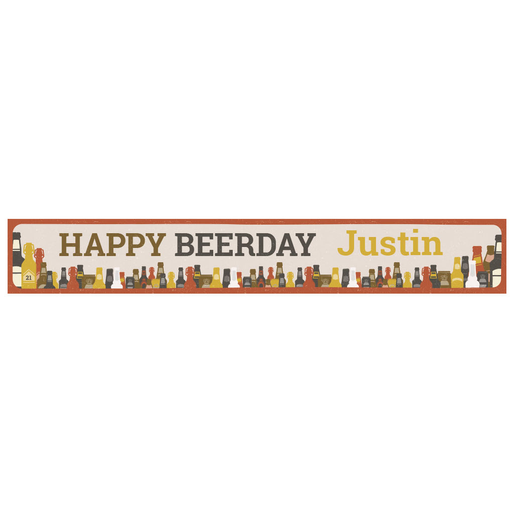 Bottles of Beer Banner <br/> with a space for a name or message - Hello Party - All you need to make your party perfect!