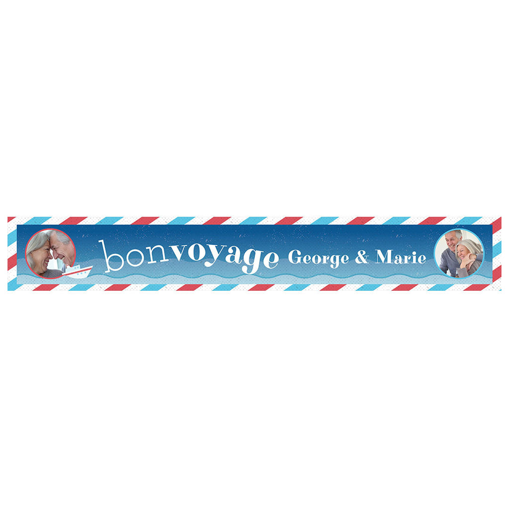 By Boat or By Plane Banner <br/> with spaces for 2 photos and a name or message - Hello Party - All you need to make your party perfect!