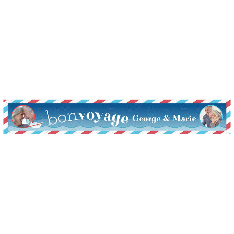 By Boat or By Plane Banner <br/> with spaces for 2 photos and a name or message  Personalisable Banner Hello Party - All you need to make your party perfect! - Hello Party
