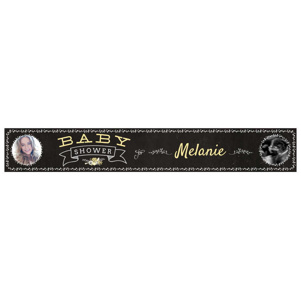 Blackboard Baby Shower Yellow Banner <br/> with spaces for 2 photos and a name or message