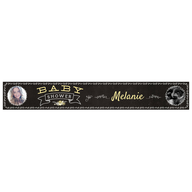 Blackboard Baby Shower Yellow Banner <br/> with spaces for 2 photos and a name or message  Personalisable Banner Hello Party - All you need to make your party perfect! - Hello Party