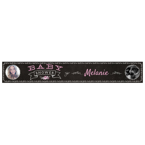 Blackboard Baby Shower Pink Banner <br/> with spaces for 2 photos and a name or message - Hello Party - All you need to make your party perfect!
