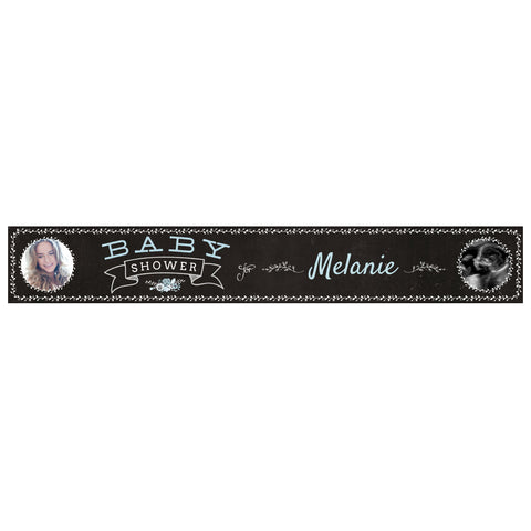Blackboard Baby Shower Blue Banner <br/> with spaces for 2 photos and a name or message - Hello Party - All you need to make your party perfect!