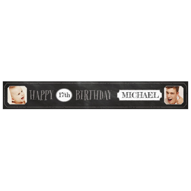 Cheeky Chalk Banner <br/> with spaces for 2 photos and a name or message  Personalisable Banner Hello Party - All you need to make your party perfect! - Hello Party