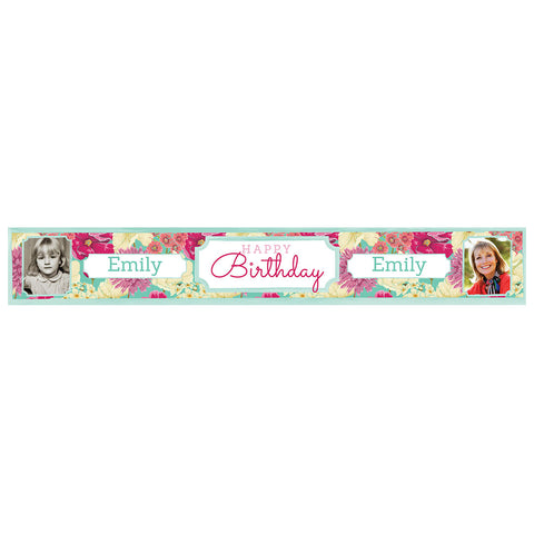 Big & Bright Birthday Blooms Banner <br/> with spaces for 2 photos and a name or message  Personalisable Banner Hello Party - All you need to make your party perfect! - Hello Party