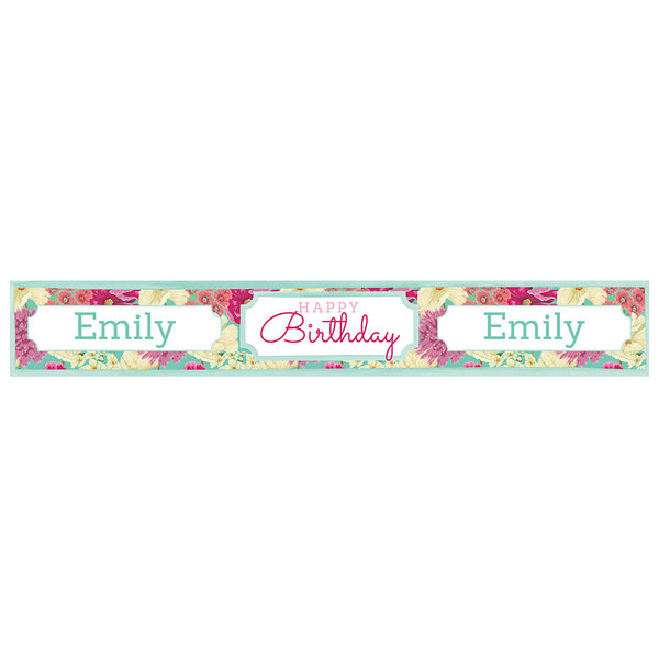 Big & Bright Birthday Blooms Banner <br/> with a space for a name or message  Personalisable Banner Hello Party - All you need to make your party perfect! - Hello Party